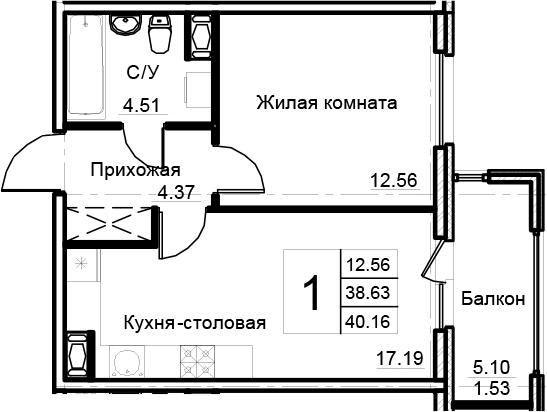 2-к.кв (евро), 43.73 м²