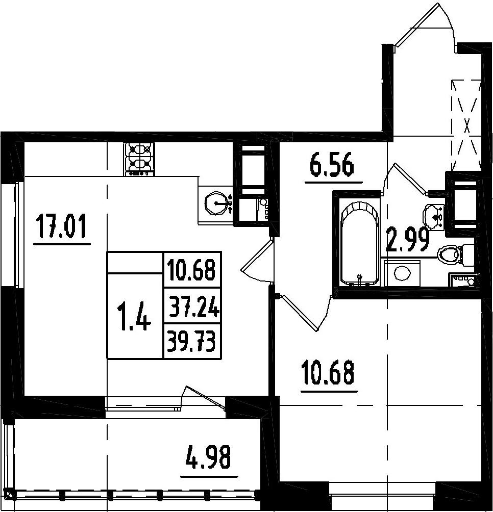 2Е-комнатная, 37.24 м²– 2