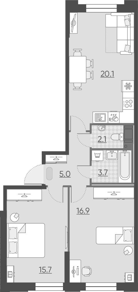 3Е-к.кв, 63.5 м², от 3 этажа