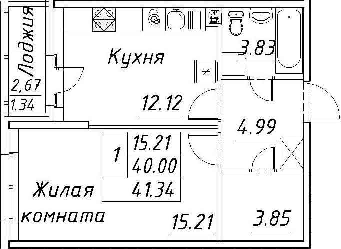 1-к.кв, 42.68 м²