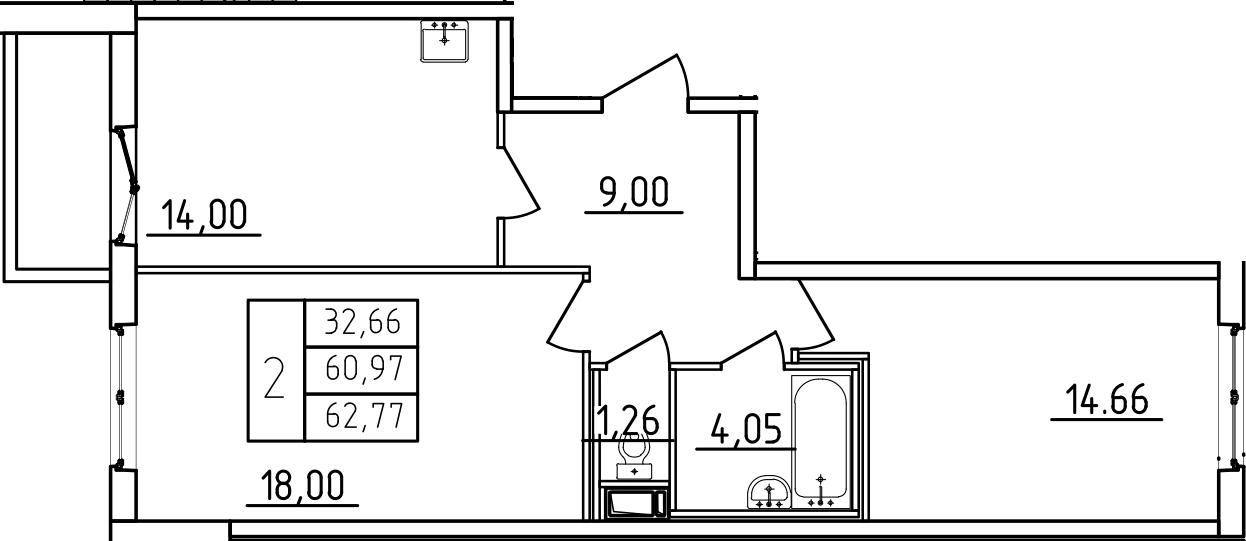 2-к.кв, 64.57 м²