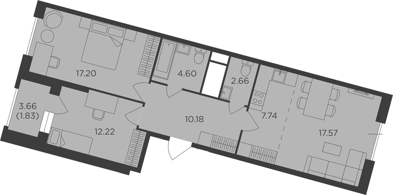 3Е-к.кв, 74 м², 29 этаж