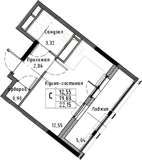 Студия, 22.15 м²– 2