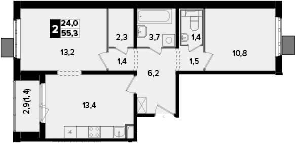 2-к.кв, 55.3 м², от 9 этажа