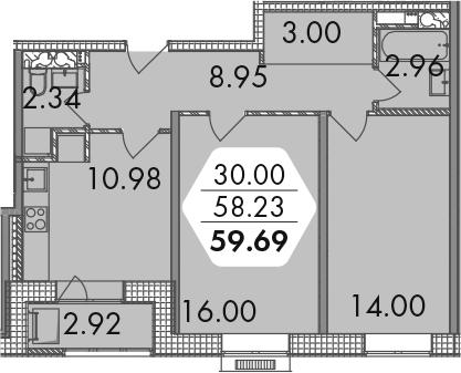 2-к.кв, 59.69 м²