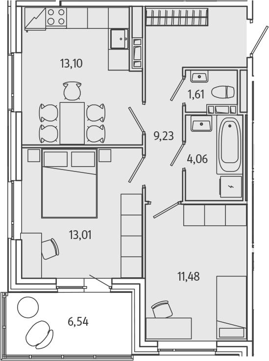 2-к.кв, 55.76 м²