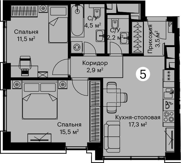 3Е-комнатная, 57.4 м²– 2