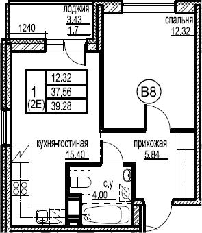 2-к.кв (евро), 40.98 м²