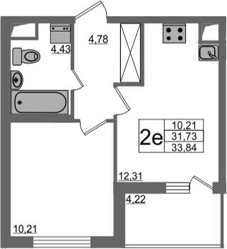 2-к.кв (евро), 35.95 м²