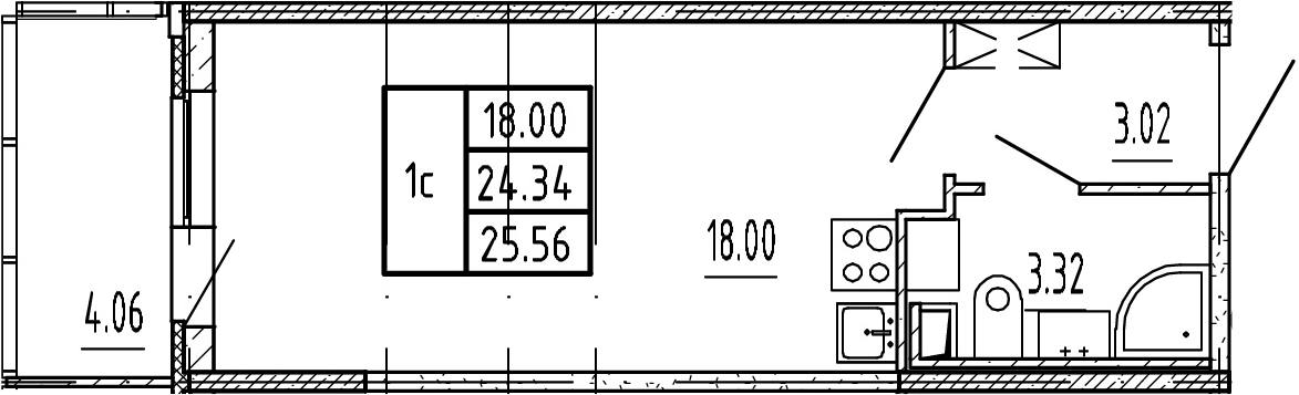 Студия, 24.34 м²– 2