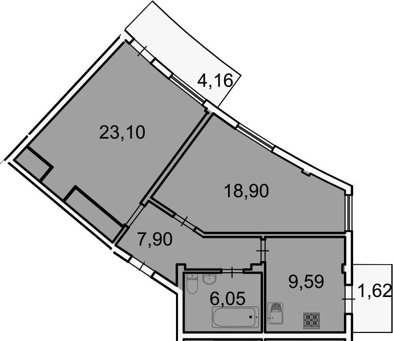 2-к.кв, 67.3 м², 3 этаж