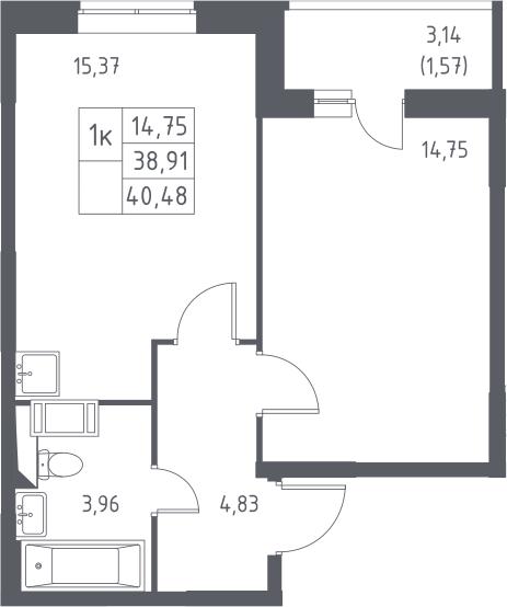2-к.кв (евро), 42.05 м²