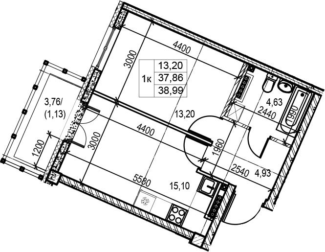 2Е-комнатная квартира, 38.99 м², 6 этаж – Планировка