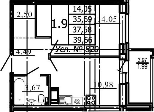 1-комнатная, 35.69 м²– 2