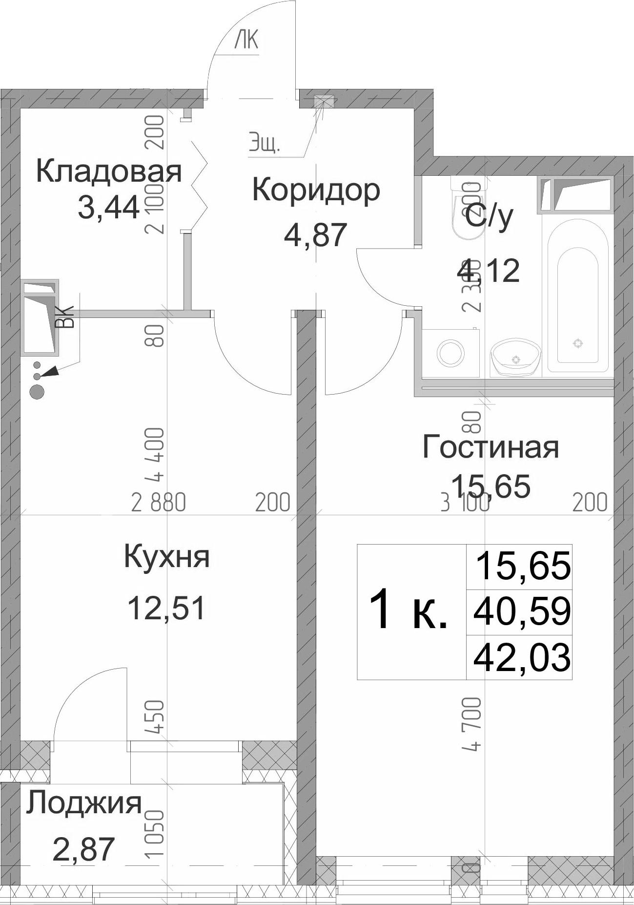 1-к.кв, 42.03 м², 2 этаж