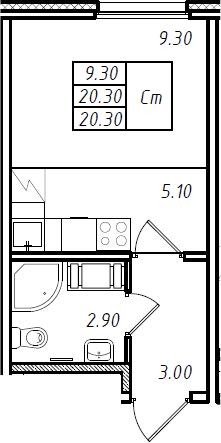 Студия, 20.3 м², 7 этаж
