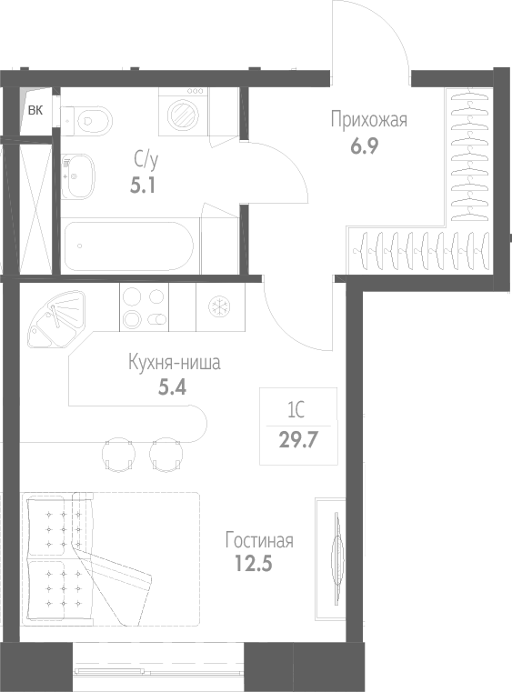 Студия, 29.7 м²– 2
