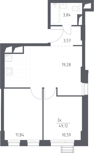 3Е-к.кв, 49.12 м², 26 этаж