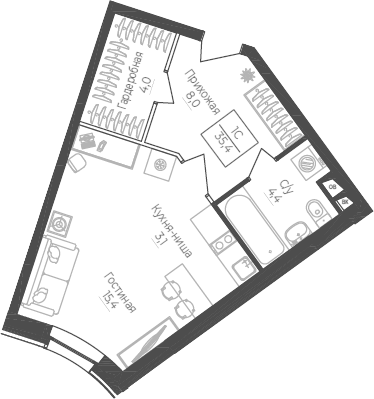 Студия, 35.4 м²– 2