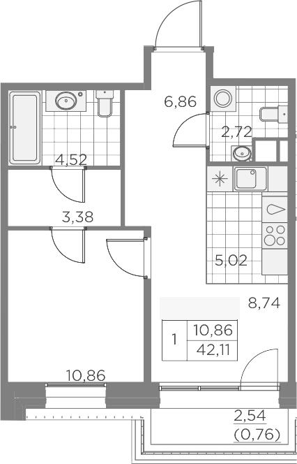 2Е-к.кв, 42.86 м², 9 этаж