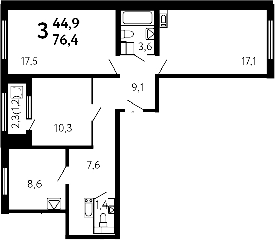 3-к.кв, 76.4 м²