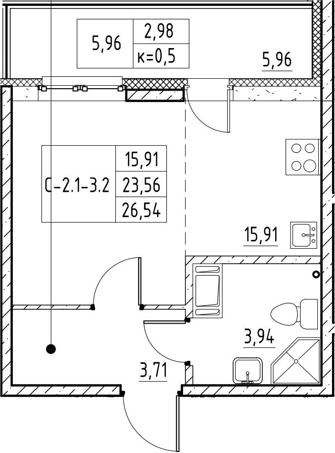 Студия, 26.54 м²