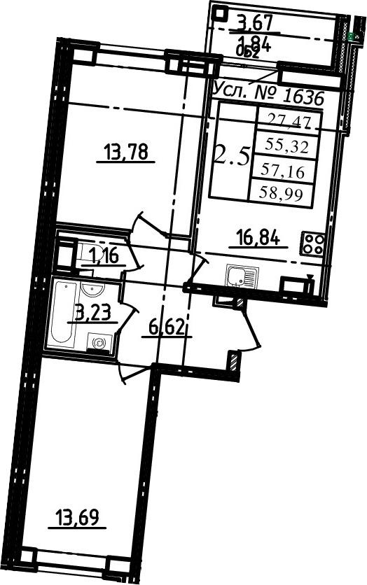 3Е-к.кв, 55.32 м², 6 этаж