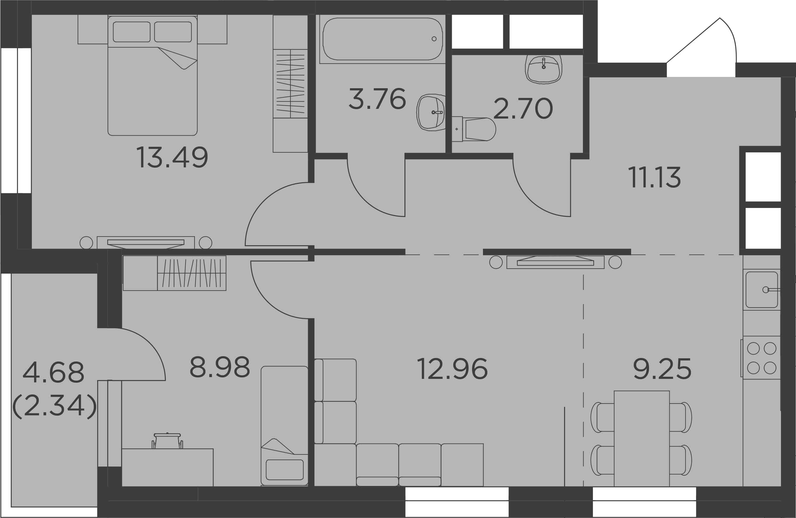3Е-к.кв, 64.61 м²