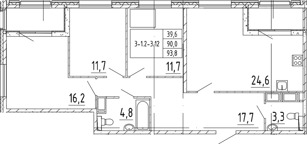 4Е-к.кв, 93.8 м²