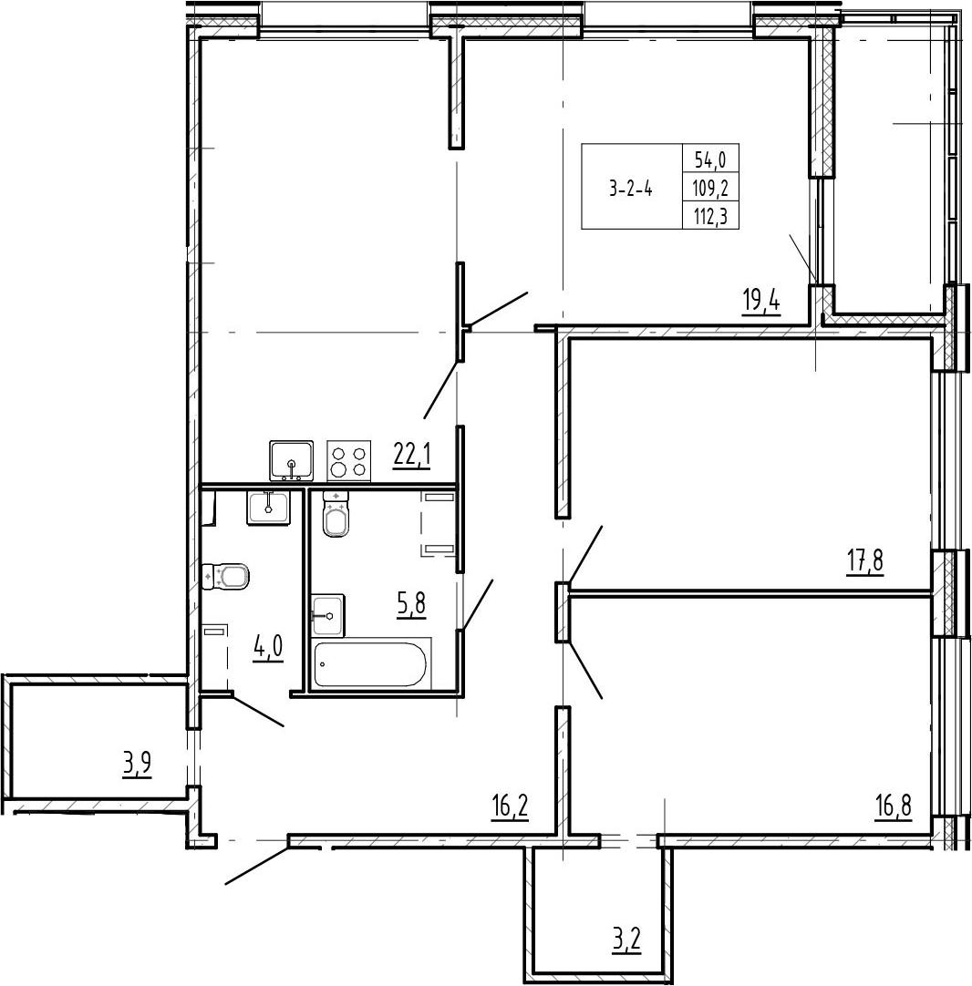 4-к.кв (евро), 115.4 м²