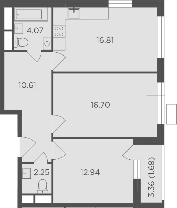 2-к.кв, 65.06 м²