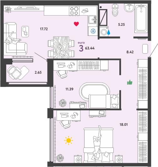 3Е-к.кв, 63.44 м²