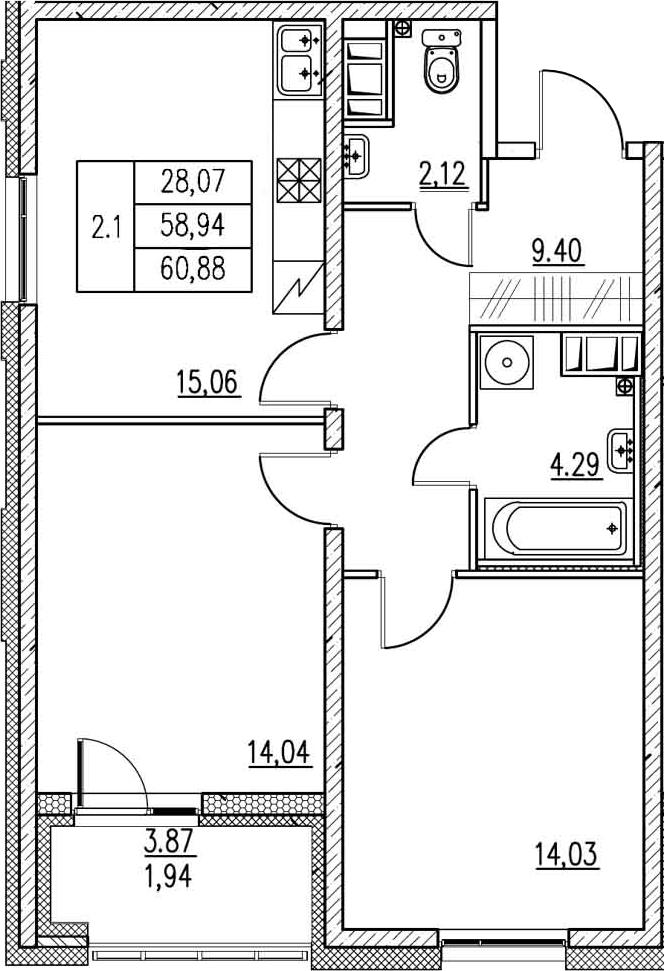 3-к.кв (евро), 62.82 м²