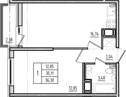 2Е-к.кв, 35.11 м², от 14 этажа