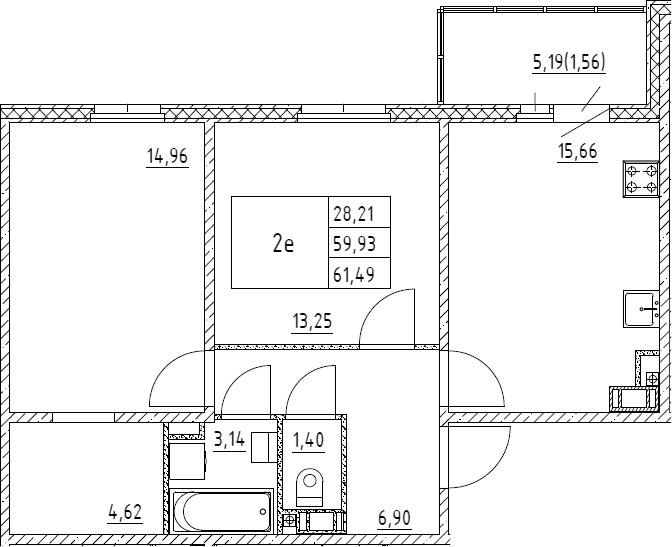 3Е-к.кв, 61.49 м², 2 этаж