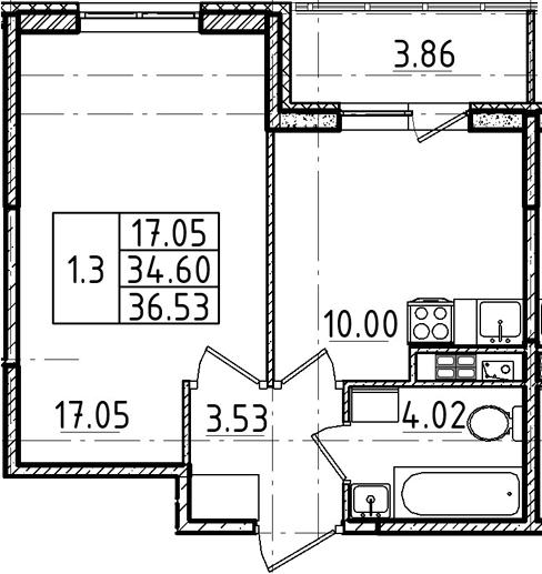 1-к.кв, 34.6 м², 4 этаж