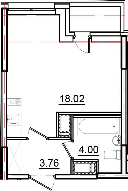 Студия, 26.83 м², от 3 этажа