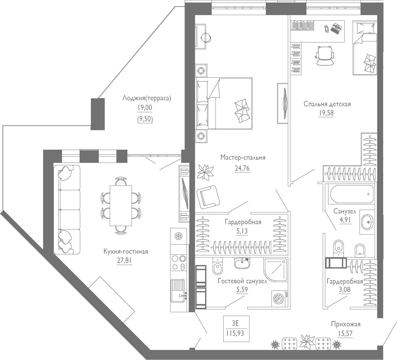 3Е-к.кв, 115.93 м², 3 этаж