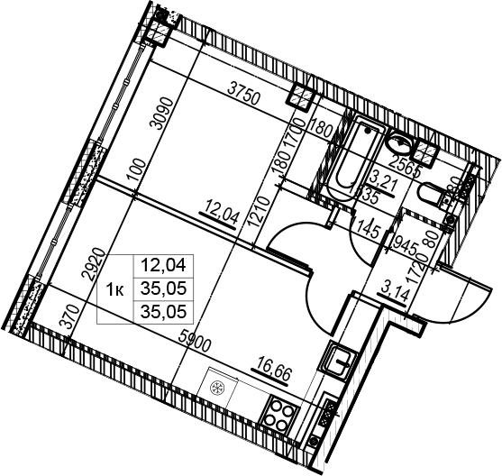2Е-к.кв, 35.05 м²