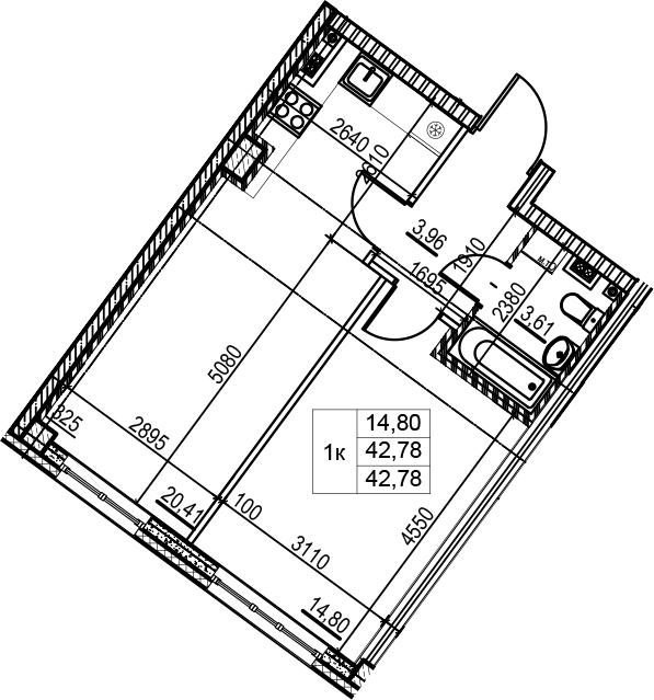 2Е-комнатная, 42.78 м²– 2