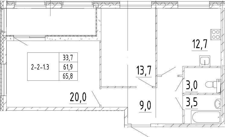 2-комнатная, 65.8 м²– 2