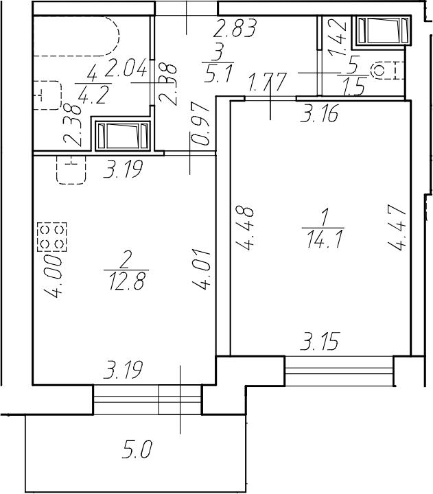 1-к.кв, 37.7 м²