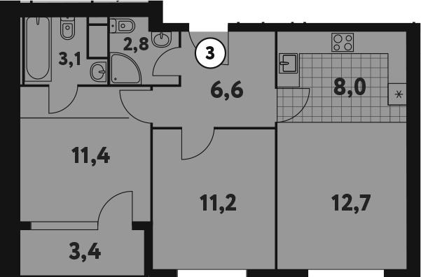 3-к.кв (евро), 59.2 м²