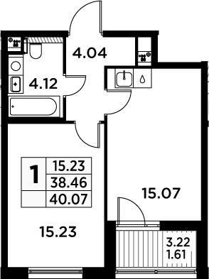2Е-комнатная, 40.07 м²– 2