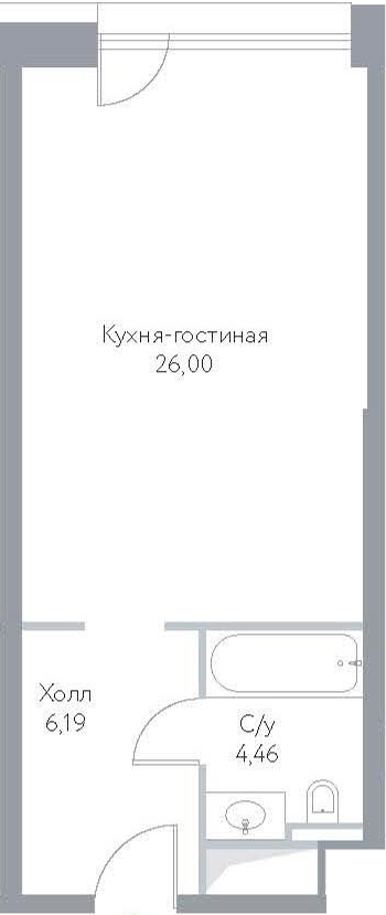 Студия, 36.65 м²– 2