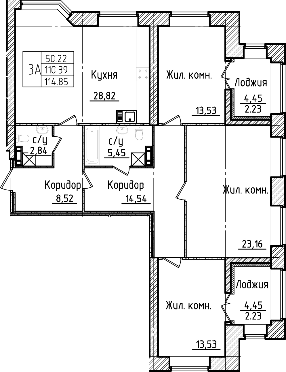 3-комнатная, 114.85 м²– 2