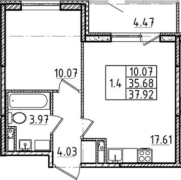 2Е-комнатная квартира, 35.68 м², 1 этаж – Планировка