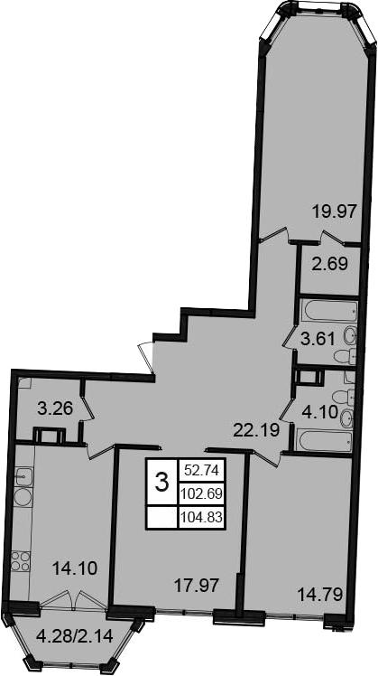 3-к.кв, 104.83 м²