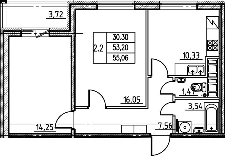 2-комнатная, 53.2 м²– 2