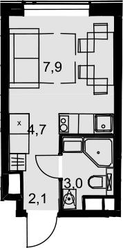 Студия, 17.7 м²– 2